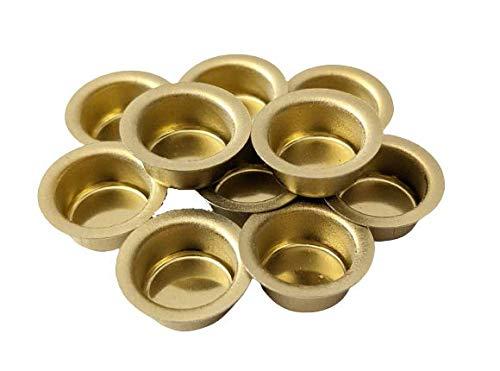 10er Set Kerzentüllen aus Metall, Gold, 12mm., Kerzeneinsatz, Kerzenhalter für Baumkerzen, Tafelkerzen und Teelichter