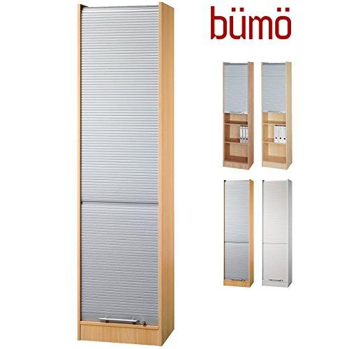 bümö® Aktenschrank mit Rollladen | Rollladenschrank für Aktenordner | Büroschrank für Akten | Büromöbel | Rolladenschrank in 5 Farben (Buche/Silber)