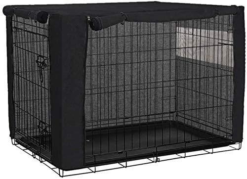 JURONG Fundas para jaula de perro para cajas de alambre, poliéster duradero, resistente al viento, para protección interior y exterior, accesorios para mascotas – solo funda (X-L, negro)