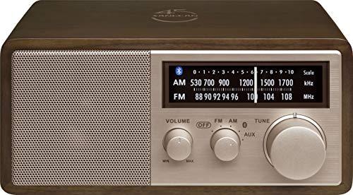Sangean WR-16SE - Radio de Madera de Nogal Oscuro con Placa Frontal de Oro Rosa (Am/FM/Bluetooth/Aux-in/USB)