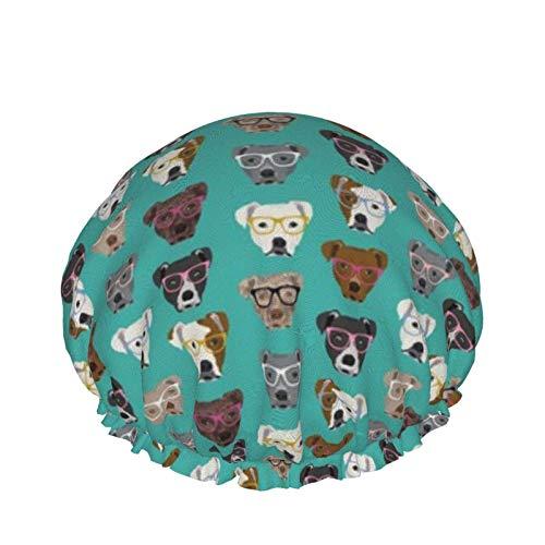 Pitbull en gafas Perros lindos Pitty Pitbull Diseño de perro Turquesa Gorro de ducha de doble capa Baño elástico impermeable