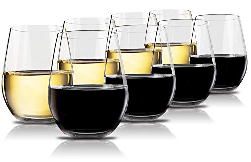 Vivocci Unbreakable Plastic Stemless Wine Glasses 20 oz | 100% Tritan Heavy Base | Shatterproof...