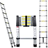 DICN Telescopic Ladders 2.6M 8.5FT Aluminium Lightweight Portable Extendable 9 Step 330lbs Capacity for Multipurpose Home Garden DIY Builder