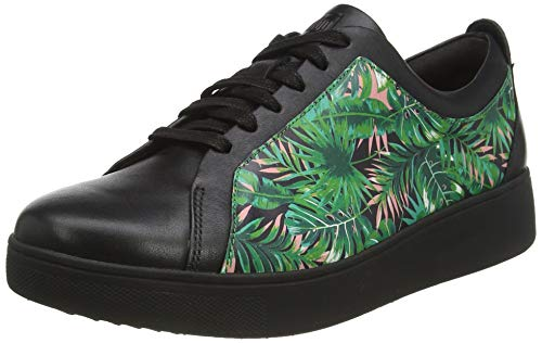 Fitflop Rally Tennis Sneaker-Jungle Print, Zapatillas Mujer, Negro (Black Mix), 40 EU