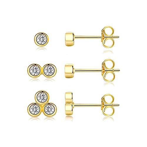 3 piezas de plata de ley 925 auténtica, pequeño y bonito perno prisionero para mujeres Piercing g Earin Jewelry -E3