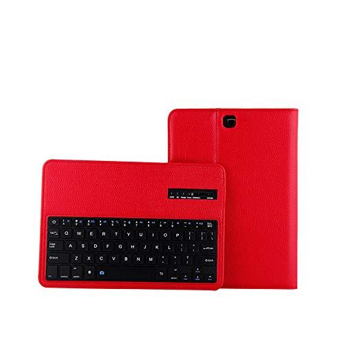 Estuche de Lujo para Samsung Galaxy Tab S2 9.7 Teclado de Teclado Bluetooth extraíble Cubierta de Soporte de Cuero para Samsung T810 T815 Tablet Teclado inalámbrico Bluetooth (Color : Red)