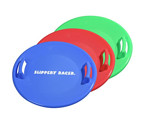 Slippery Racer Downhill Pro 26 Inch Diameter Cold Resistant Saucer Disc Outdoor Winter Toy Snow Sled, Blue, Red, and Green (3 Pack)