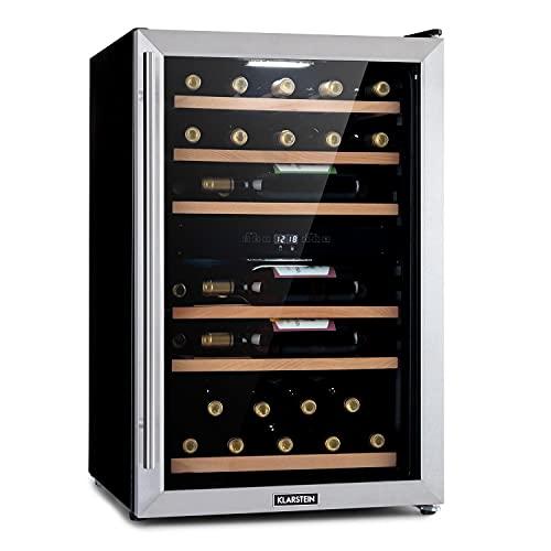 Klarstein Vinamour 37 Duo - Vinoteca, EEC G,2 zonas de enfriamiento,112 L,Temperaturas: 4-12 ° C (zona superior) / 12-22 ° C (zona inferior),37 botellas,5 estantes,Acero inoxidable, Plateado