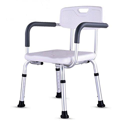 Chaise de douche WSSF en Alliage d'aluminium réglable en Hauteur avec accoudoir de Dossier Personnes âgées Enceintes Enceintes handicapées Toilettes de Bain Anti-dérapant Toilettes, 40 * 42 * 67-80cm