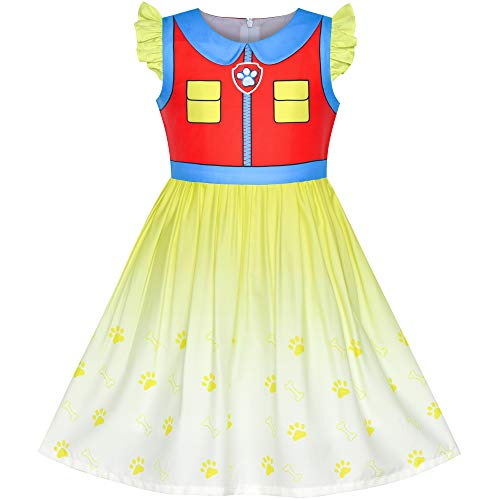 Girls Dress Paw Ryder Halloween Cosplay Patrol Party Size 5 Red