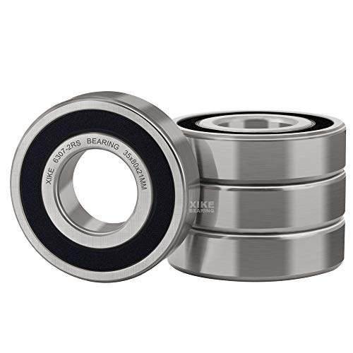 XiKe 4 Pcs 6307-2RS Double Rubber Seal Bearings 35x80x21mm, Pre-Lubricated and Stable Performance and Cost Effective, Deep Groove Ball Bearings.
