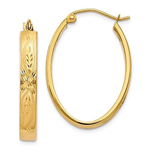 14K Amarillo Oro clásico Oval con diseño de flores pendientes de aro