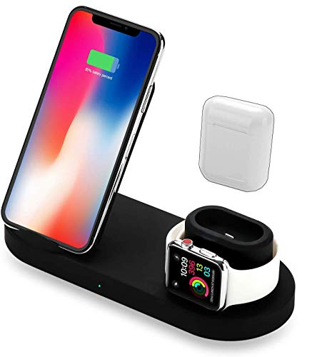 4 in 1 Wireless Charger Stand for Phone, Airpods, Watch, and USB - Wireless Charging Dock Compatible with Apple iWatch, iPhone, Qi and More