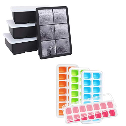 Kootek 8 Pack Ice Cube Trays with Lids - 4 Multicolor Ice Trays and 4 Large Ice Molds for Chilling Whiskey Wine Cocktail Beverages Juice