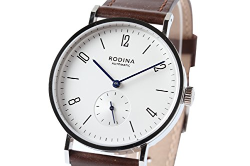 Authentic Rodina R005 Automatic Bauhaus Style Wrist Watch Arabic Silver White Dial Brown Strap Seagull ST17 Mov