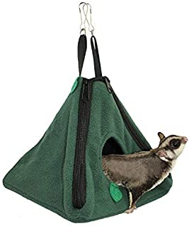 Jungle Pyramid - Hanging Fleece Cage Accessory Toy for Sugar Gliders, Marmosets, Rats, Hamsters, Flying Squirrels, Ferrets, Birds, Chinchillas, Parrots - Hammock, Tower, Bed, Nest Pouch