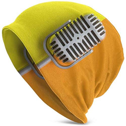 Sombreros Beanie Flat Lay Micrófono Retro con Doble Gorra Holgada Beanie Tough...