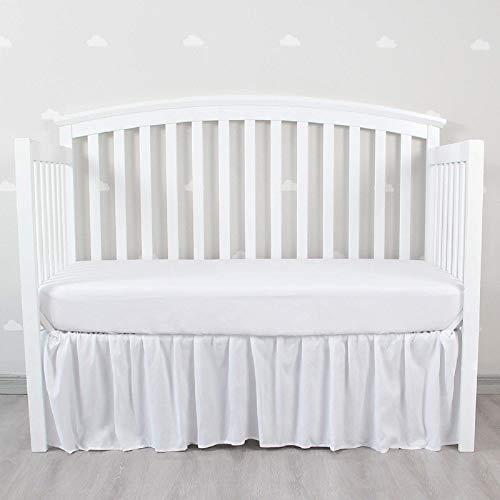 Biloban Navy | Grey | White Crib Skirt Dust Ruffle 4 Sides Elastic Wrap Around...