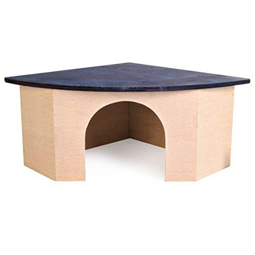 Croci Maison Angulaire en Bois avec Toit Bleu pour Petits Animaux 29x13x21 cm