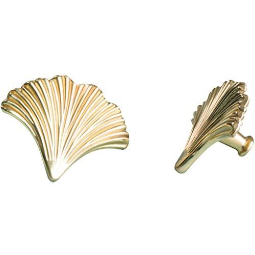 Maniglia Maniglia Cassetto Foglia Ginkgo Dorata,Maniglie Per Mobili Per La Casa,Maniglia Della Porta Del Comodino Della Camera Da Letto,Accessori Hardware Per Mobili ( Color : Gold , Size : 6.5cm*2 )