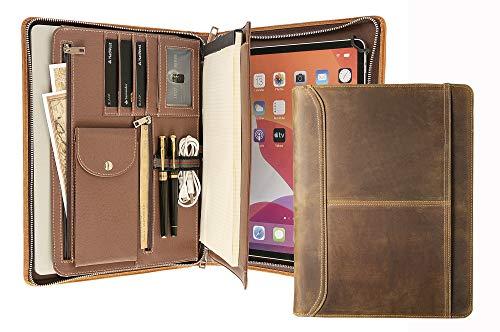 Genuine Leather Portfolio Folder, iPad Portfolio Case for iPad Pro 12.9 (2nd Gen, 2017), Business Portfolio Notebook for Women, Padfolio Zipper for Men, Business Gift for Men Women