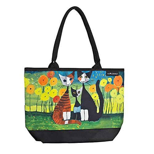 VON LILIENFELD Handtasche Damen Kunst Katzen Motiv Rosina Wachtmeister All Together Shopper Maße L42 x H30 x T15 cm Strandtasche Henkeltasche Büro
