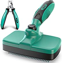 Ruff 'N Ruffus Self-Cleaning Slicker Brush + FREE Pet Nail Clippers | UPGRADED PAIN-FREE BRISTLES | Cat Dog Brush Grooming Gently Reduces Shedding & Tangling For All Hair Type