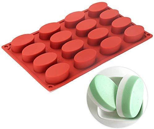 Moule en silicone anti-adhésif à 16empreintes ovales - Pour savon, gâteau, pain, cupcake, cheesecake, pain de maïs, muffins, brownie, etc.