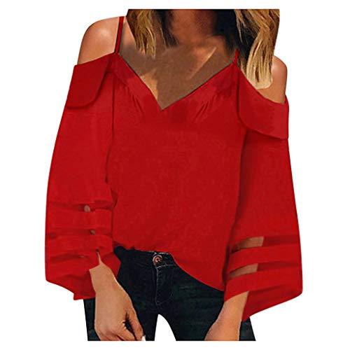SANFASHION LangarmT Shirts Damen Elegant Rundhals Einfarbig Oberteile Sexy Rückenfrei Top mit Schlitz am Ärmel