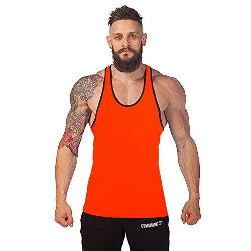 KINDOYO Homme Débardeur Stringer Gilet sous-vêtements de Sport Aptitude sans Manches Coton Maillots de Corps Chemise, Orange
