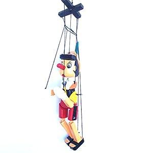 Pinocho de madera 30cm ,multicolor,con cuerdas Tradicionalmente hecho a mano por expertos artesanos Alta calidad - maravillosamente Terminado Idea para decoracion en la habitacinó etc