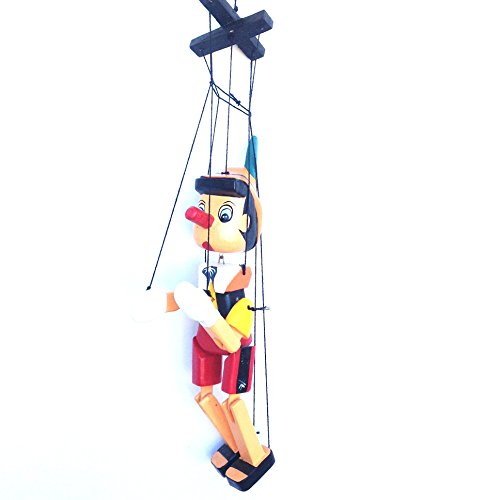 Pinocho de madera con cuerdas,30cm,Multicolor( HC enterprise-0325)