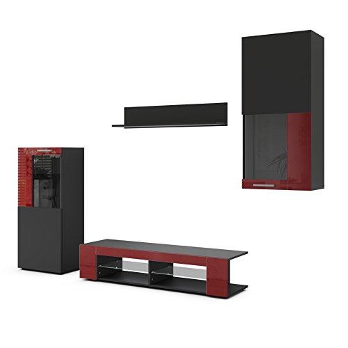 Vladon Conjunto de Muebles de Pared Movie, Cuerpo en Negro Mate Frentes en Negro Mate y Burdeos de Alto Brillo