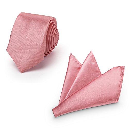 Rusty Bob - Krawatte mit Einstecktuch (in vielen Farben) - für die Verlobung, die Hochzeit - Schlips mit Taschentuch für das Sakko - 2er-Set (Rosa/Zartrosa)