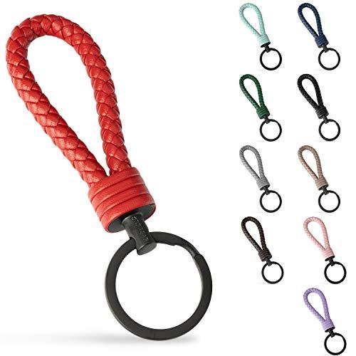 SERASAR Schlüsselanhänger Auto aus Leder mit Edelstahl Schlüsselring - Zusatzringe für kleine Schlüssel - Ideal für Auto, Motorrad, Fahrrad & Haus-Schlüssel - Mit Geschenk-Schachtel für Herren & Damen