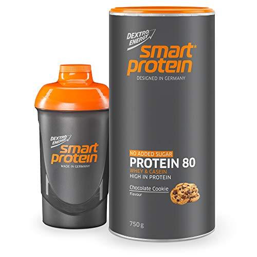 Dextro Energy Whey Protein Chocolate Cookie inkl. Eiweiß Shaker | 750 g Proteinpulver | 80% Whey und Casein Protein | Ideal für Protein Pancake