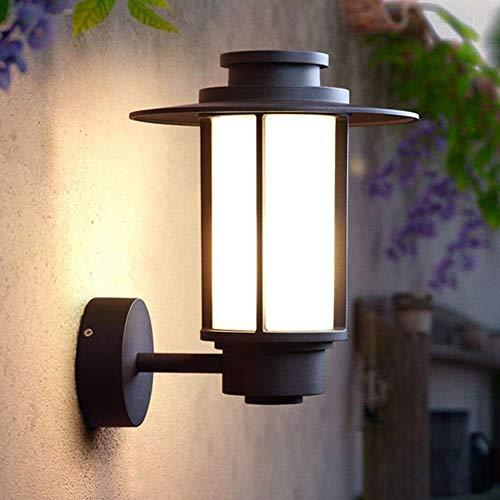 American Retro Outdoor Waterproof Wall Lamp Aisle Balcony Patio Door Glass Industrial Outdoor Village Wall Lamp Black 24x31x27cm Delicate Indoor Lamp Decorative HUERDAIIT