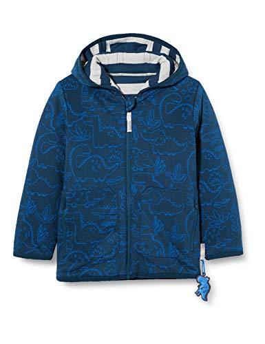 Sigikid Jungen Mini Wendejacke mit Kapuze aus Bio-Baumwolle, Größe 098-128 Jacke, Blau/Streifen, 110