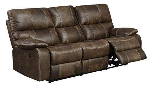 Artum Hill Bassfield Power Sofa with Dual Recliners, Microsuede Upholstery, and USB Charging Station, Chocolate Brown
