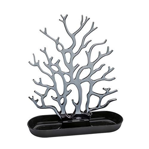 koziol porte-Bijoux Cora, thermoplastique, noir avec anthracite transparent, 9,3 x 26,2 x 32,2 cm