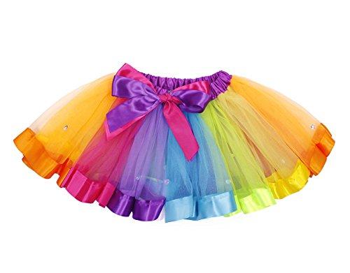 Jurebecia Vestidos de tutú para niñas Falda Tutu Arcoiris Vestido de Tul Ballet Faldas de tutú con Volantes de Baile