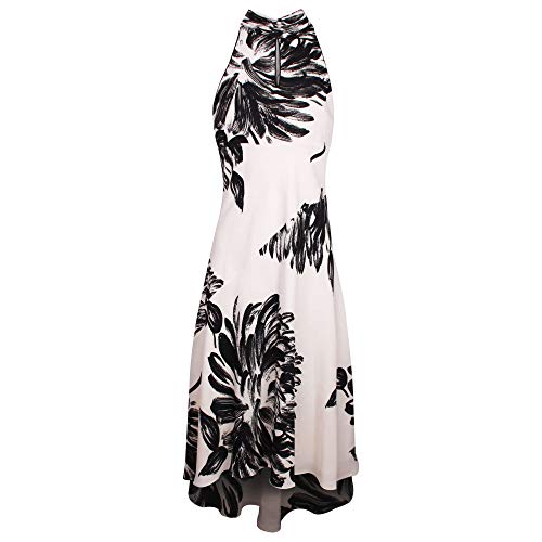 Michaela Louisa Cream & Black Sleeveless Floral Fishtail Dress with Chiffon Sash 14 UK Cream Multi