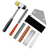 Gobesty Kit de herramientas para guitarra Luthier, juego de herramientas de pulido de guitarra incluye lima de traste de guitarra, martillo de goma, traste, 2 protectores de diapasón