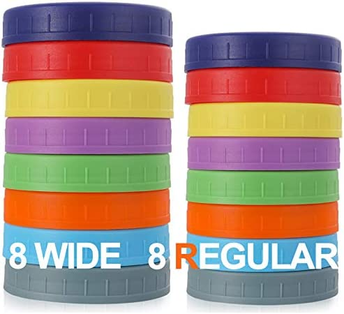 16 Pack Plastic Mason Jar Lids Fits Ball Kerr More 8 Wide Mouth 8 Regular Mouth Food Grade Colored product image