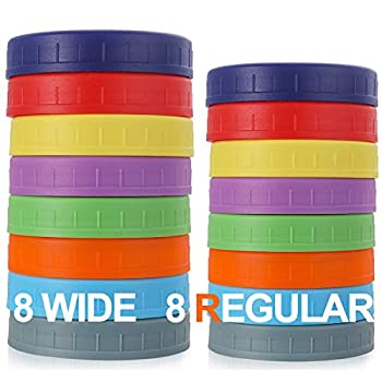 [16 Pack] Plastic Mason Jar Lids Fits Ball Kerr & More - 8 Wide Mouth & 8 Regular Mouth - Food-Grade Colored Storage Caps for Canning Jars - Anti-Scratch Resistant Surface