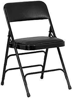 Flash Furniture 4 Pk. HERCULES Series Curved Triple Braced & Double Hinged Black Vinyl Metal Folding Chair
