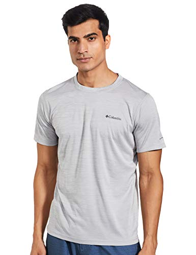Columbia Zero Rules Short Sleeve Shirt Camiseta de manga corta, Hombre, Gris (Columbia Grey Heather), L