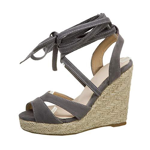 MISSUIT Damen Wedges Plateau Sandaletten High Heels Keilabsatz Sandalen mit Schnürung Espadrilles Sommer Schuhe(Grau,38)