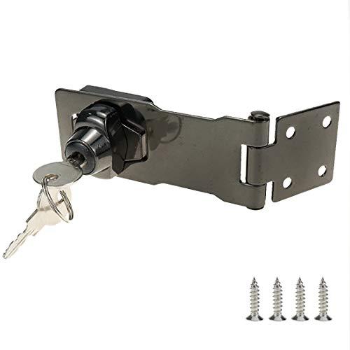 Rannb Key Hasp Lock Bright Dark Grey Twist Knob Keyed Locking Hasp 4 Inch Length
