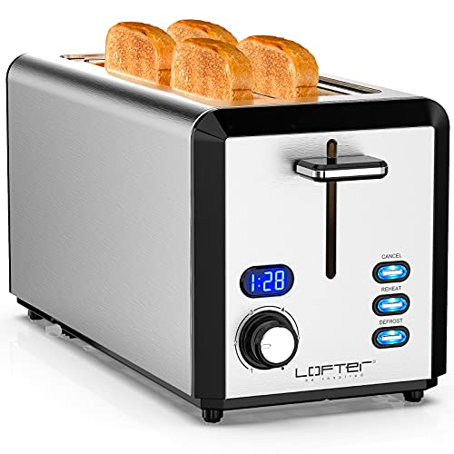 Toaster 4 Slice, Toaster 2 Long Slot Best Rated Prime with LED Display, Stainless Steel Toasters with 1.6'' Extra Wide Slots, 6 Browning Settings, Defrost/Reheat/Cancel, Removable Crumb Tray, 1300W
